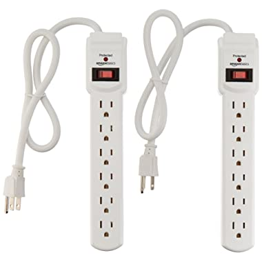 AmazonBasics 6-Outlet Surge Protector Power Strip 2-Pack, 2-Foot Long Cord, 200 Joule - White