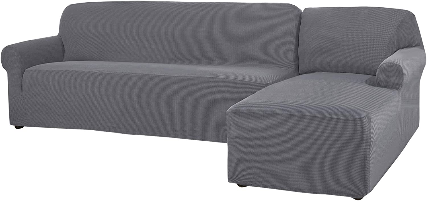 CHUN YI 2 Pieces L-Shaped Right Chaise Jacquard Polyester Stretch Fabric Sectional Sofa Slipcovers Dust-Proof L Shape Corner 3 Seats Sofa Cover Set for Living Room (Light Gray