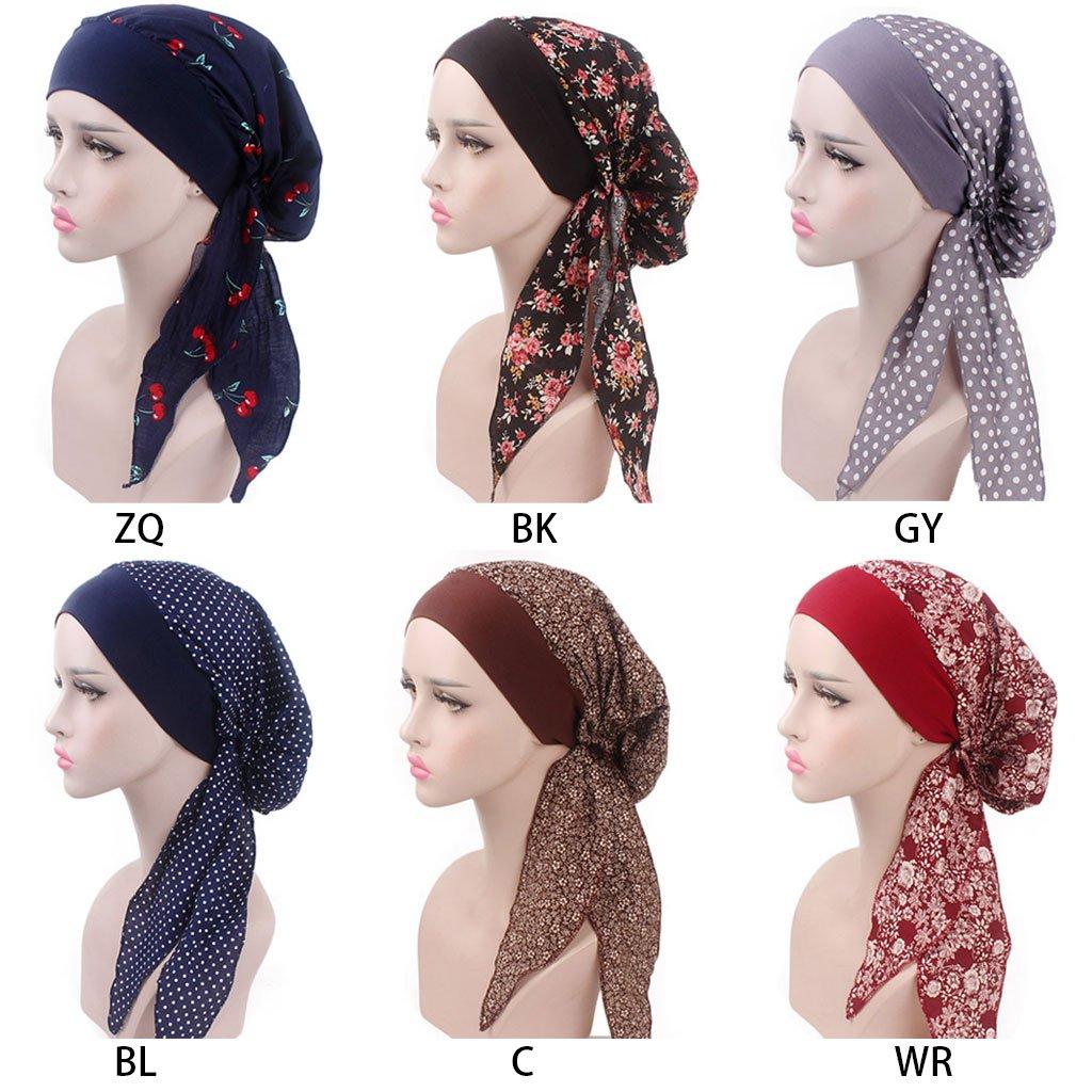 Blauer Punkt ZOOMY Damen Chemo Hat Turban Kopft/ücher Vorgebundenes Headwear Bandana Gummiband
