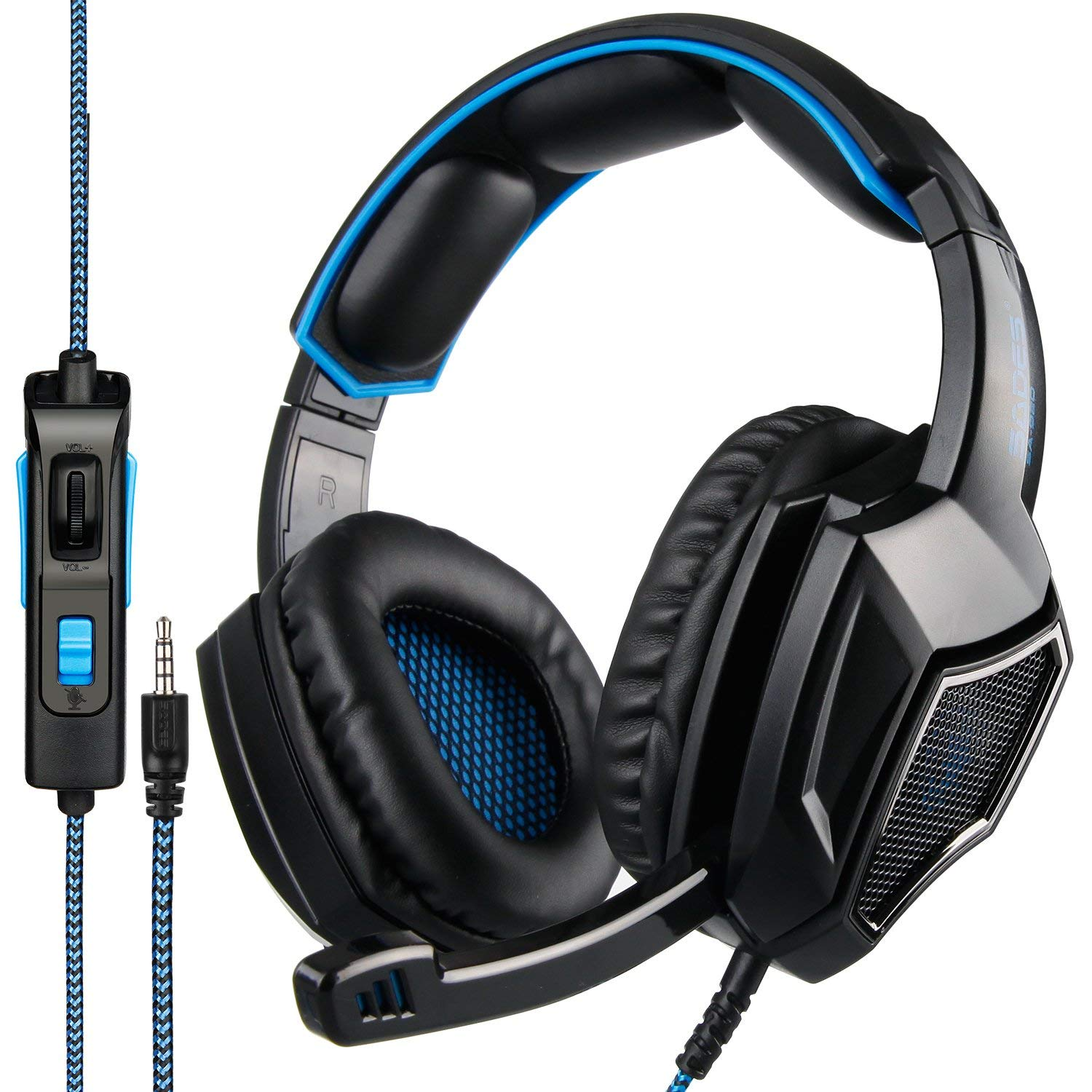 Newest Updately Sades SA920Plus Wired Stereo Gaming Headset Over Ear Headphones with Microphone for New Xbox One PS4 PC Cell Phones- Black Blue