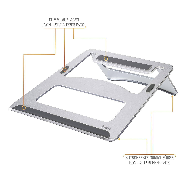 Hama Notebook Stand//St/ä nder /(geeignet f/ü r Ger/ä te bis max. 39cm//15,4 Zoll, rutschfest, klappbar, optimale Laptop-Bel/ü ftung, Alu, aus Aluminium/) erh/ö hung silber 00053059