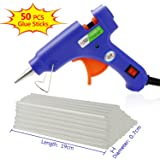 Philonext Hot Melt Glue Gun with 50 Pcs 190mm Glue Sticks, Melting Glue Gun Kit Flexible Trigger for DIY Small Craft Projects & Sealing and Quick Repairs (Blue)