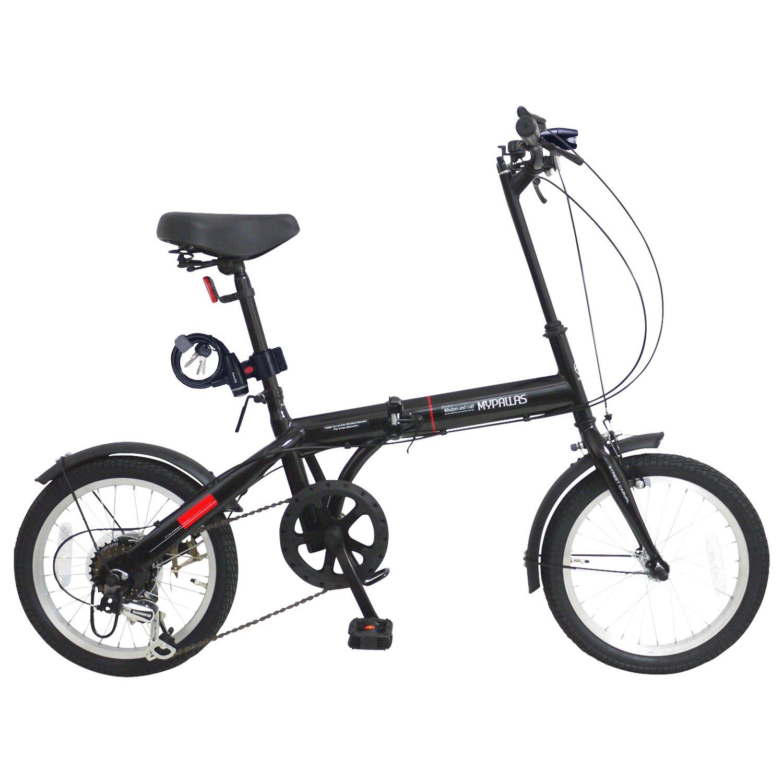 My Pallas(マイパラス) 折畳自転車16インチシマノ6段ギア/LEDライト付/ワイヤーロック付 M-104 B07CKYK5X4 ブラック ブラック