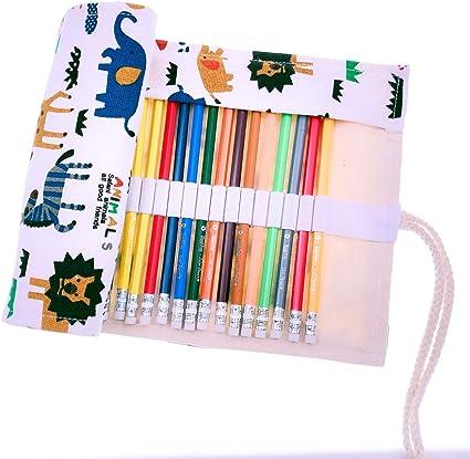 JZK 36 Lápices de colores lápiz de dibujo con estuche enrollable lona portalápices cumpleaños navidad regalo Ideal para artistas adultos y niños: Amazon.es: Oficina y papelería