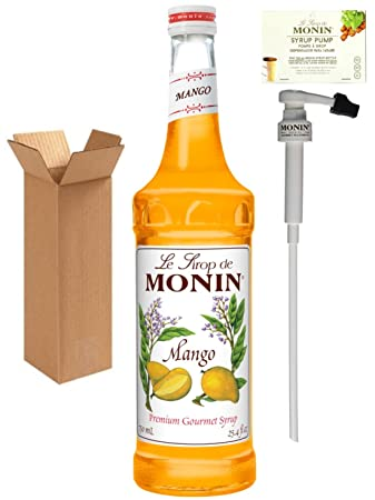 Monin Mango Syrup, 25.4-Ounce (750 ml) Glass Bottle with Monin BPA