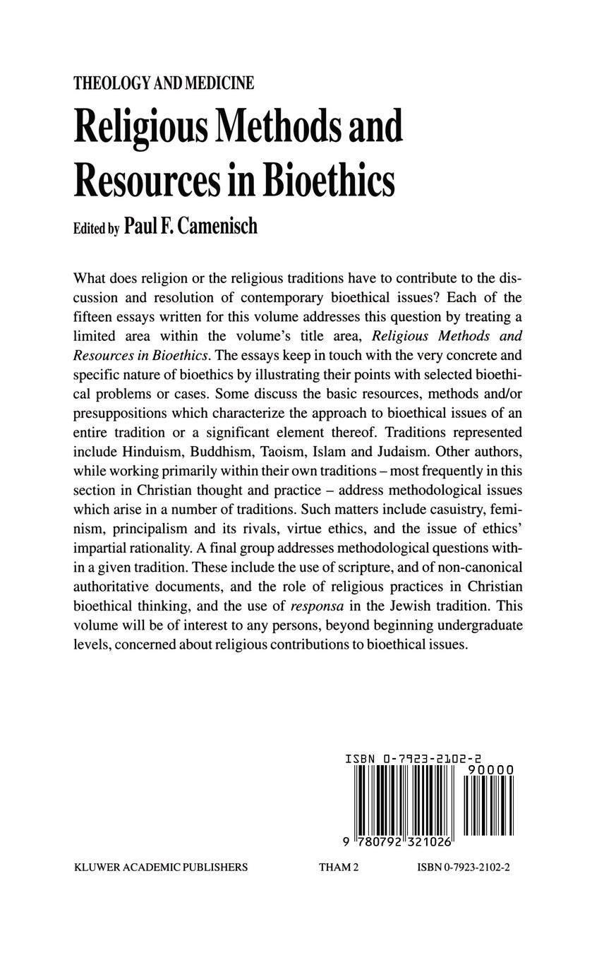 Religious Methods and Resources in Bioethics