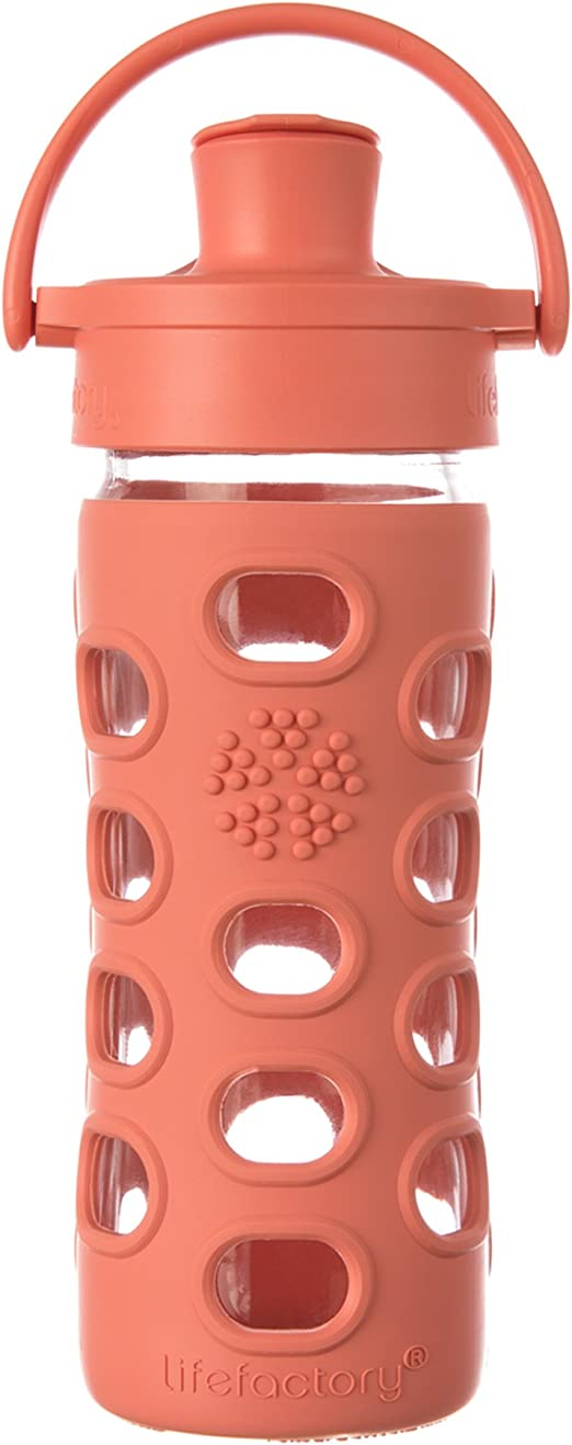 Lifefactory – Botella de Cristal con Active Flip Tapa, Naranja, 12 ...