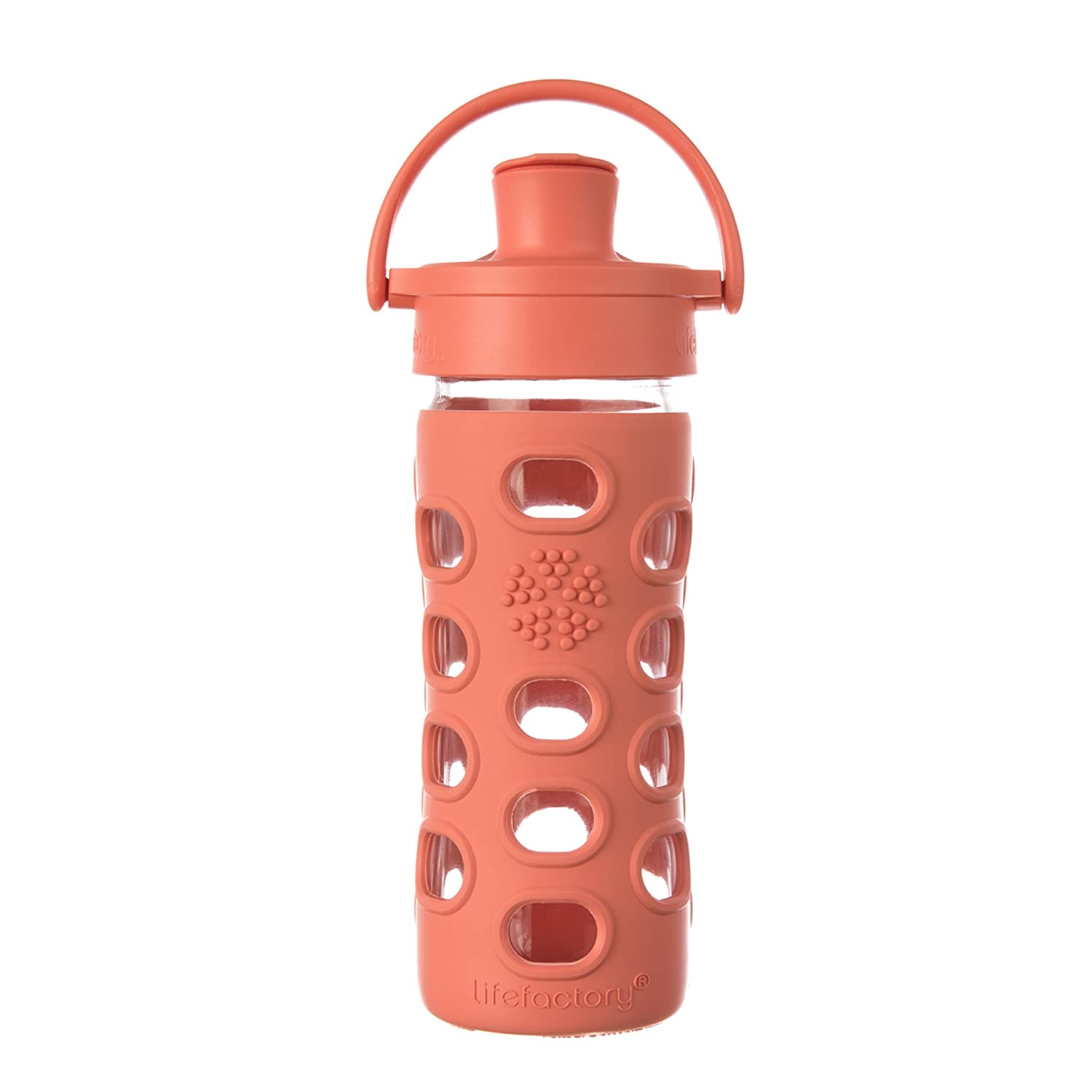 Lifefactory 12-Ounce BPA-Free Glass Water Bottle with Active Flip Cap and Silicone Sleeve, Kale 512002