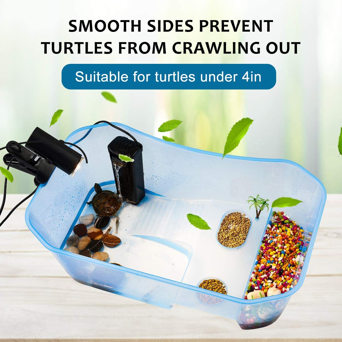 with Platform Plants Feeding Area is a Perfect Reptile Habitat PETLAOO Turtle Tank Aquarium-Turtle basking Platform,Swimming Area breeding Hibernation Area