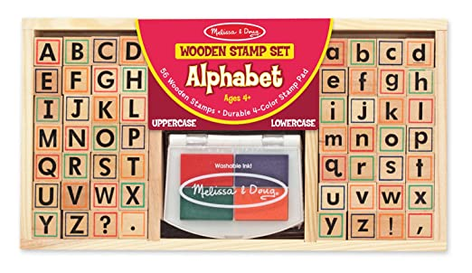 Amazon.com: Melissa & Doug Wooden Alphabet Stamp Set - 56 Stamps ...