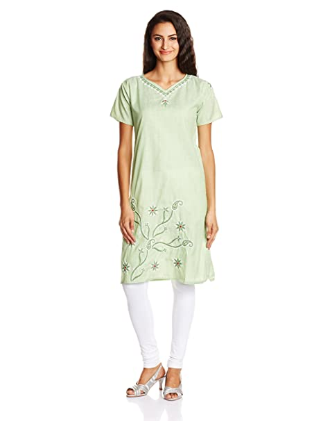 Atayant Women's Hand Embroidered Chikankari Straight Kurta Kurtas & Kurtis at amazon