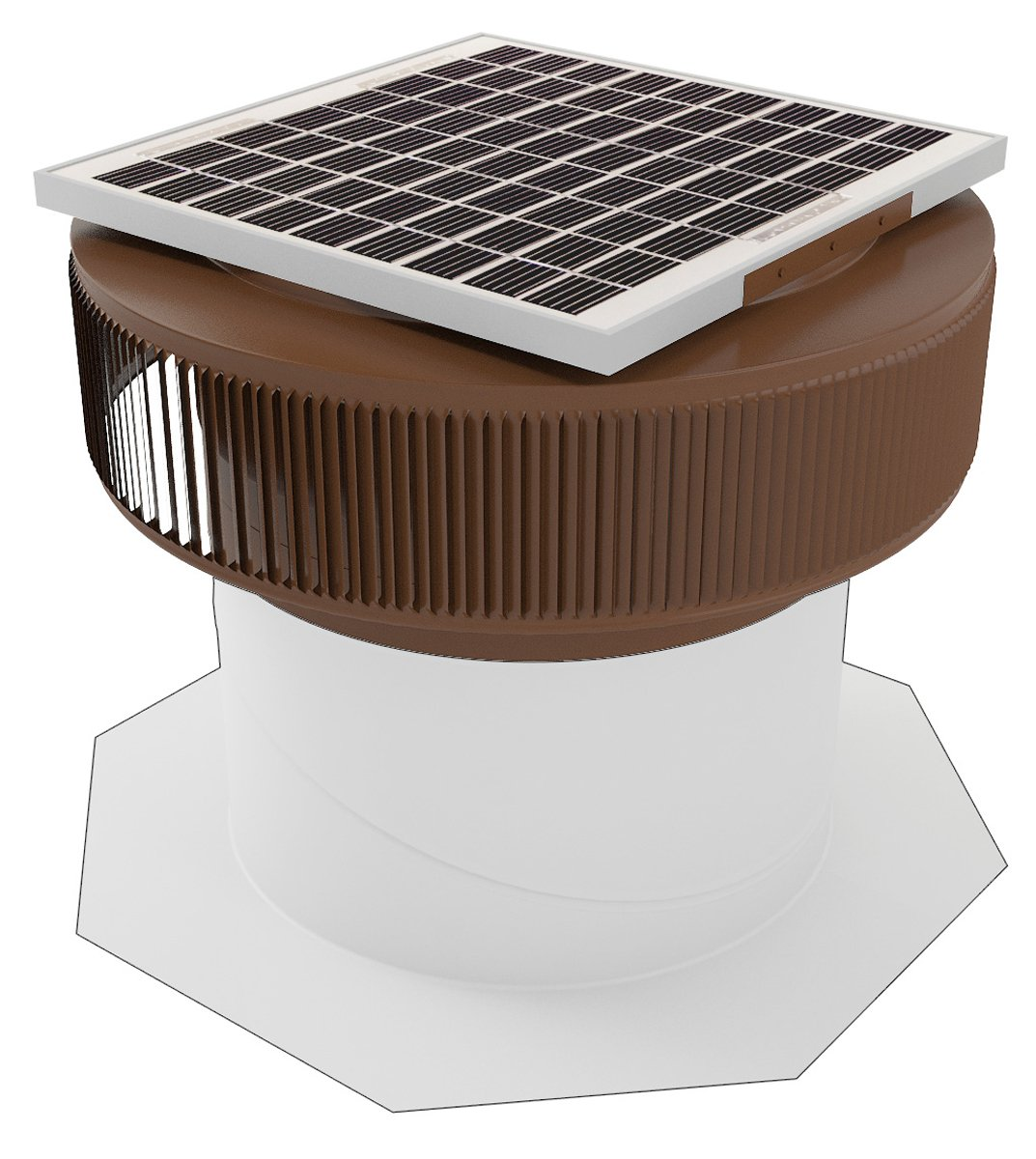 Aura 14 in. Aluminum Round 15 Watt Solar Powered Roof Exhaust Fan in Brown