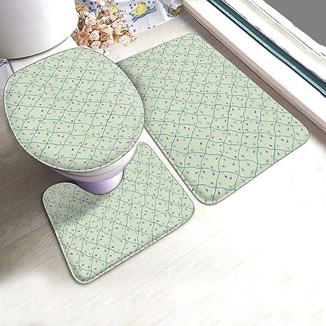 Amazon Com Nfdf Light Green Plaid 3 Piece Bathroom Rug Set Anti Skid Pads Bath Mat Contour Toilet Lid Cover Home Kitchen