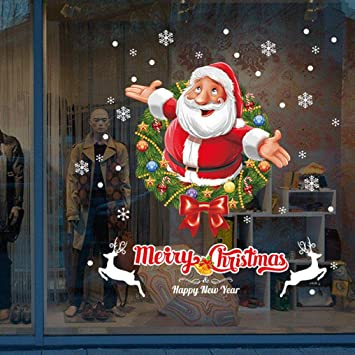 Xiting christmas window stickers wall sticker 50x70cm christmas santa claus glass windows transparent film removable wall