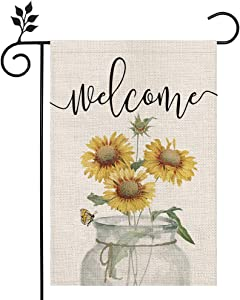 CROWNED BEAUTY Summer Garden Flag Welcome Sunflower Mason Jar 12×18 Inch Double Sided Vertical Yard Outdoor Decoration CF165-12