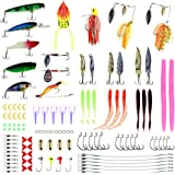 RUNATURE 114Pcs Fishing Lures Set for Saltwater and Freshwater, with Frog Shrimps Crankbaits Worms Spinnerbaits Jigs Hooks etc. Fishing Gear and Tackle Box, Fishing Baits Lot Kit for Bass Trout Salmon