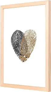 LOWHA gold black heart fingerprint Wall Art with Pan Wood framed Ready to hang for home, bed room, office living room Home decor hand made Wooden color 33 x 43cm By LOWHA