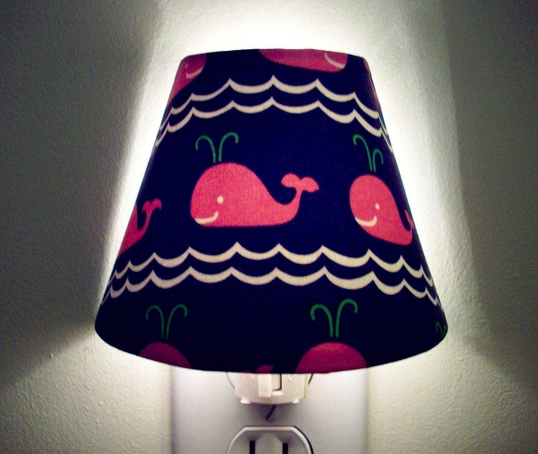 Pink Whales Navy Nautical Night Light