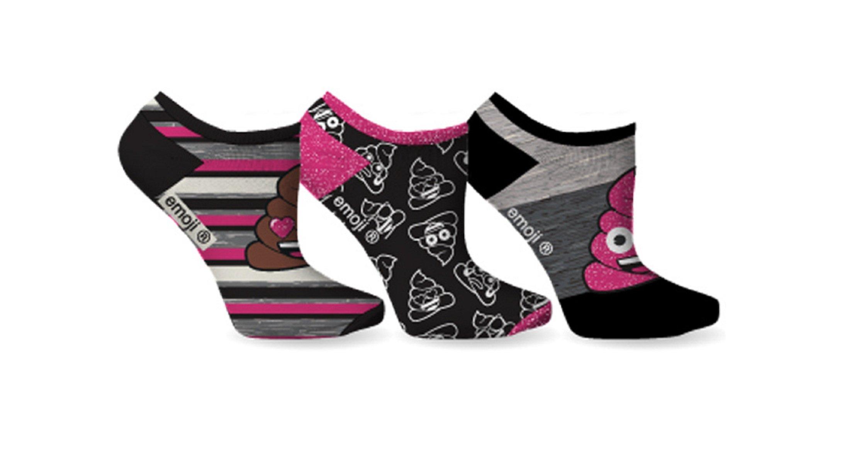 Ladie's Fun & Colorful 3-Pack Emoji Ankle Socks (Poop Sparkle)