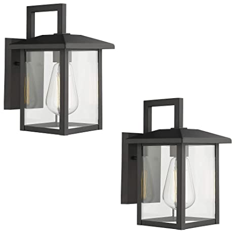Emliviar Outdoor Lights Wall Mount 2 Pack Exterior Light Fixtures In Black Finish With Clear Glass 20064b1 2pk
