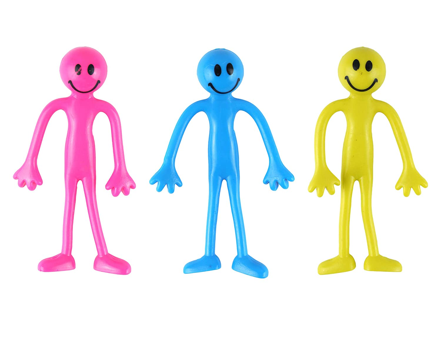 3 x Bendable Figures Characters Smilers - Fiddle Toys - Sensory Toys - 3 Mixed Colour Smiley Bendy Men Yellow, Blue and Pink - Relief from Stress, Suitable Fidget Toys for Autism, ADD, ADHD, ASD SPD & OCD D.A.Y. Republic