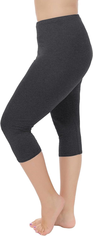Cheapestbuy Womens Plus Size Capri Leggings Soft and Lightweight Basic Capris Legging Pants