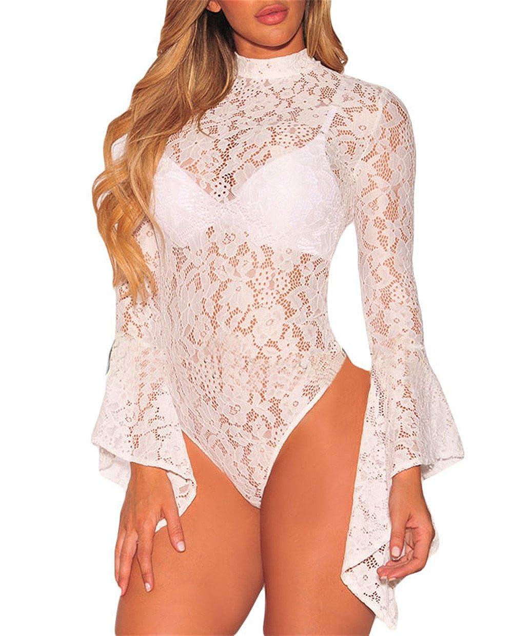 Women Sheer Floral Lace Long Bell Sleeve Mock Neck Bodysuit Leotard Clubwear Top