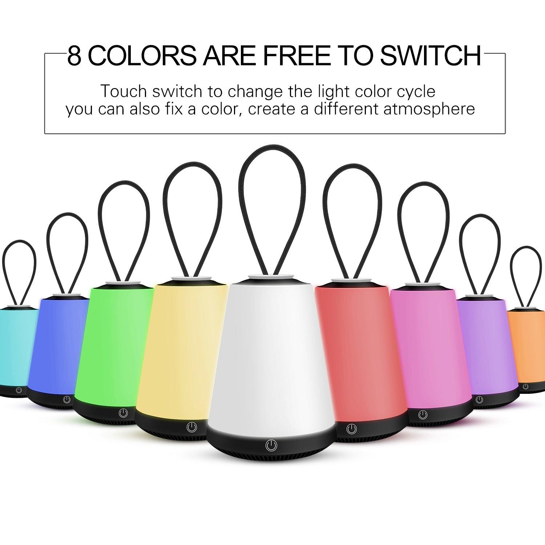 Ricarica USB Luce Notturna a LED adatta per baby room lampada da comodino esterna da campeggio luce SOS multiuso lampada di emergenza lanterna luce Nero