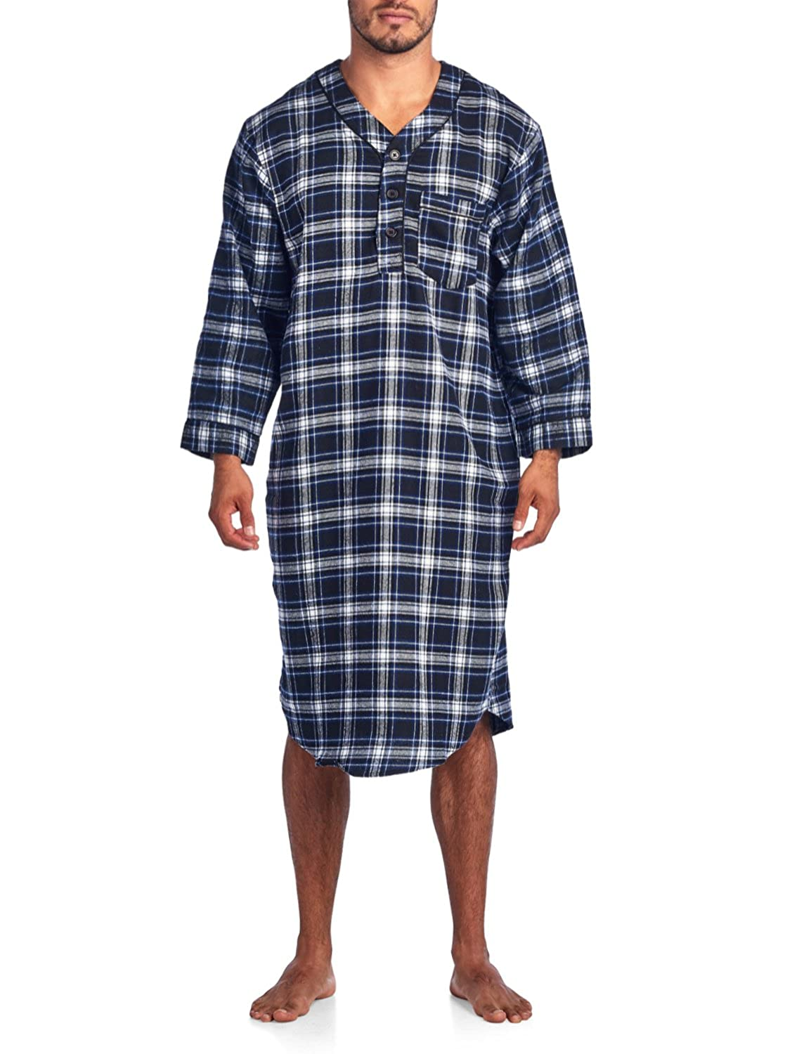 Ashford & Brooks Mens Flannel Plaid Long Sleep Shirt Henley Nightshirt AB86355FNS