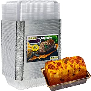 Aluminum Foil Cake Pans(50pack 8.7x6.3x2.2 inch), Disposable Foil Pans, Durable Aluminium FoilContainer Perfect for Baking Cakes, Roasting, Prepping Food (50, 840ml)