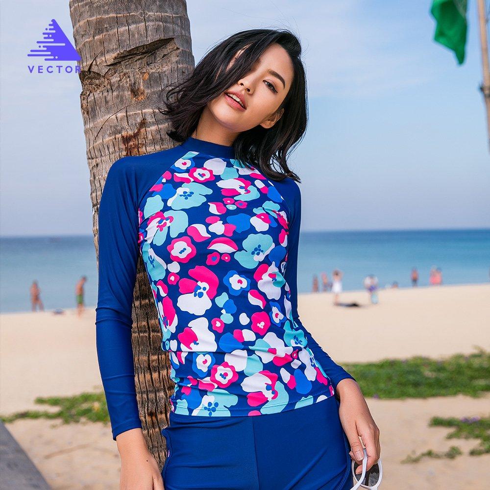 Vector Womens Rashguard Swimwear UV Sun Protection Long Sleeve Rash Guard Wetsuit Top Athletic Tops Flower Blue, L