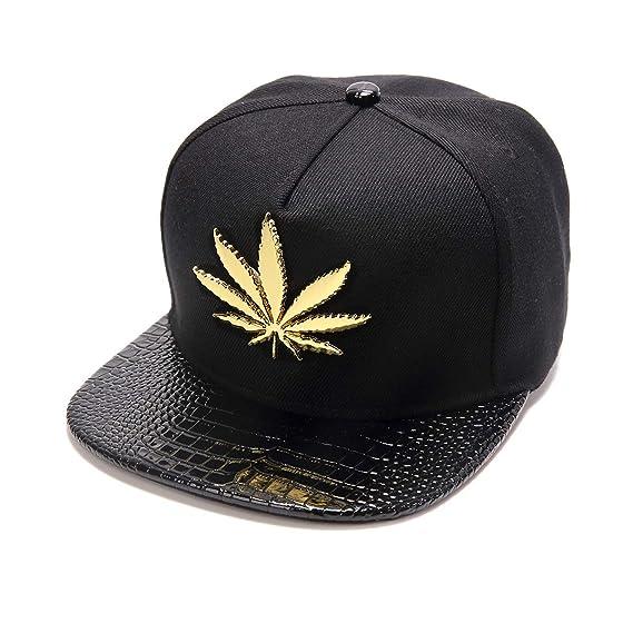 MCSAYS Hip-Hop Fashion PU Leather Flat Brim Snapback Hat Marijuana Weed Leaf Cotton Baseball Cap at Amazon Mens Clothing store: