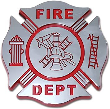 Fire Department Fire Fighter Maltese Cross Chrome Plated OEM Metal Car Truck Motorcycle Emblem
