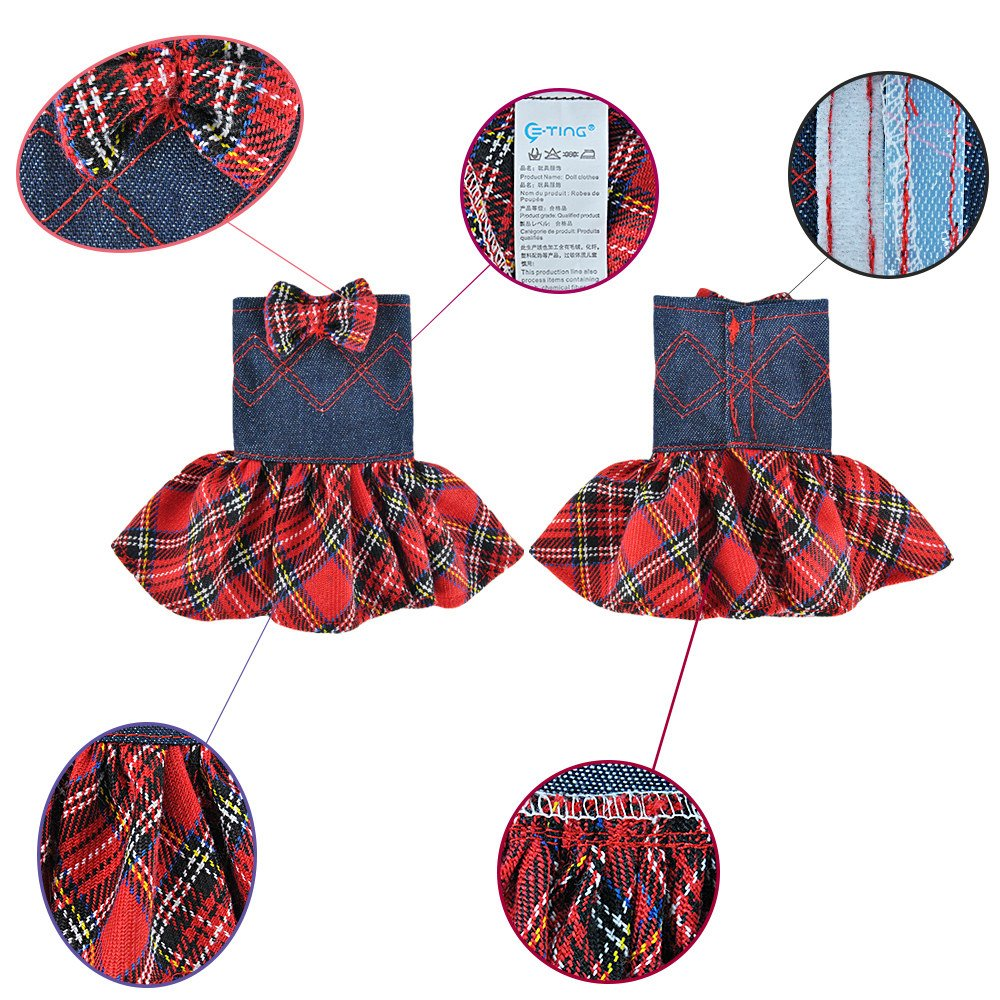 E-TING Santa Couture Clothing for elf (Red Plaid Denim Dress with Bowknot) Doll is not included