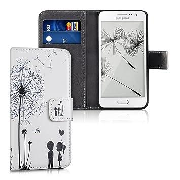 kwmobile Funda para Samsung Galaxy A3 (2015) - Carcasa de [Cuero sintético] con diseño de niños y Diente de león - Case con [Tarjetero]