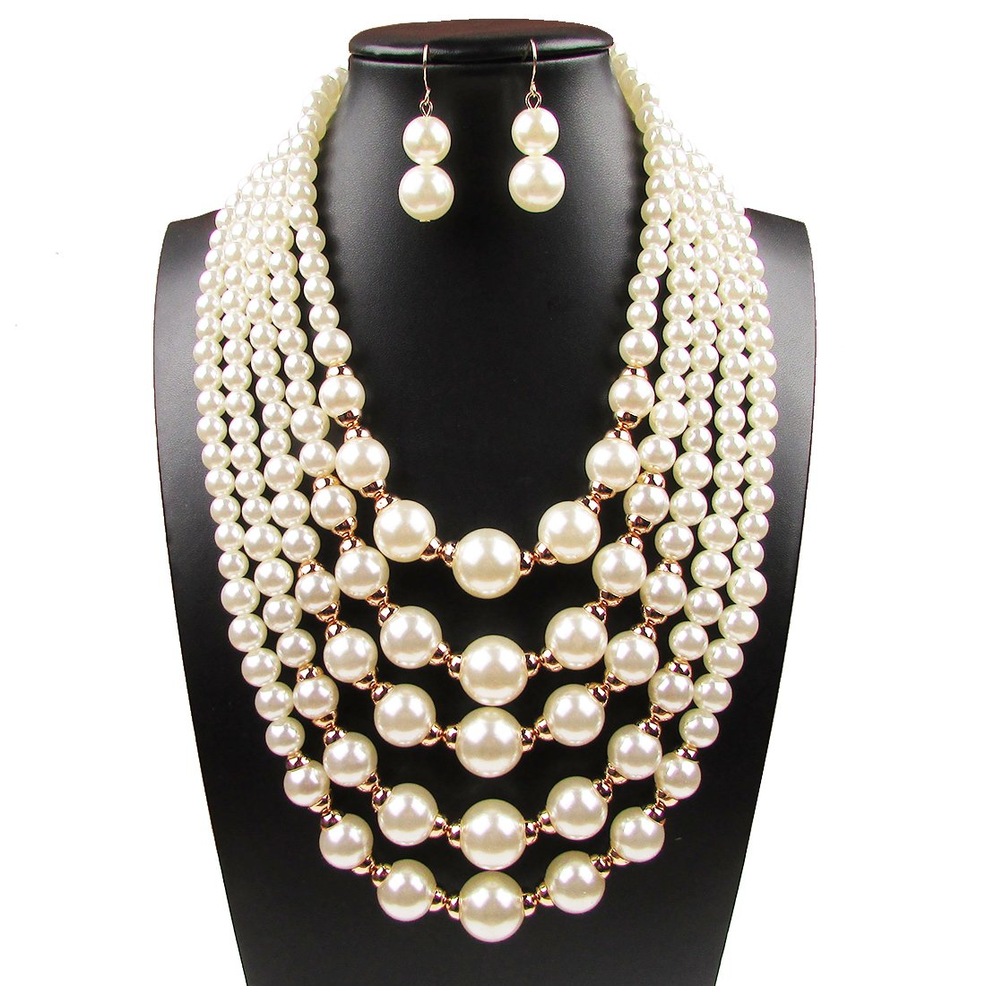 Yuhuan Women Elegant Jewelry Set White Pearl Bead Cluster Collar Bib Choker Necklace and Earrings Suit DIS N3110