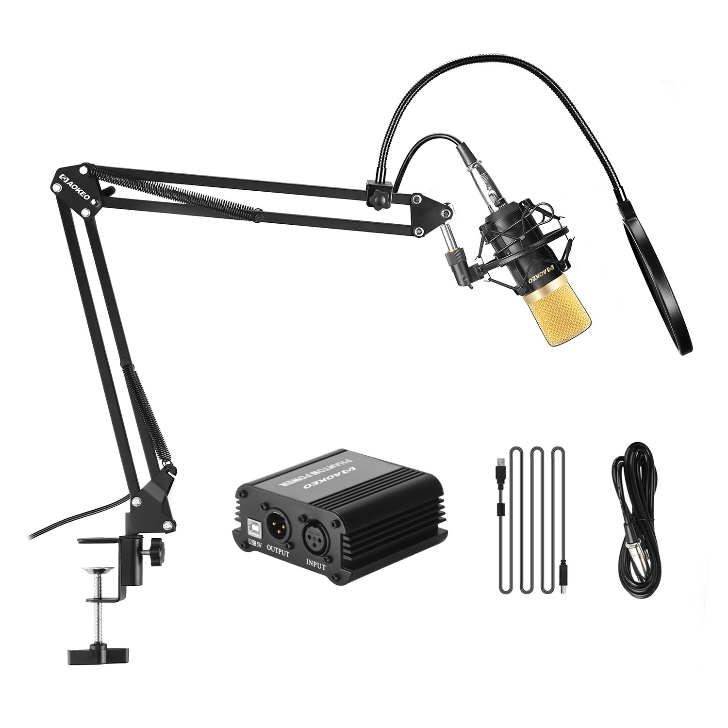 Aokeo AK-70 Professional Studio Live Stream Broadcasting Recording Condenser Microphone With AK-35 Suspension Scissor Arm Stand, Shock Mount, Pop Filter, 48V Phantom Power Supply and Mounting Clamp