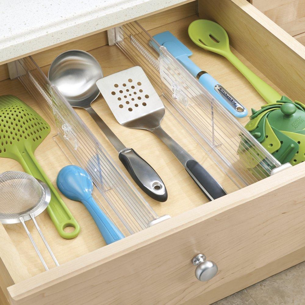 Amazon mdesign adjustable deep drawer organizer dividers for amazon mdesign adjustable deep drawer organizer dividers for dresser storage pack of 2 clear home kitchen workwithnaturefo