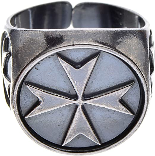 Holyart Bishop ring in burnished 800 silver with symbols