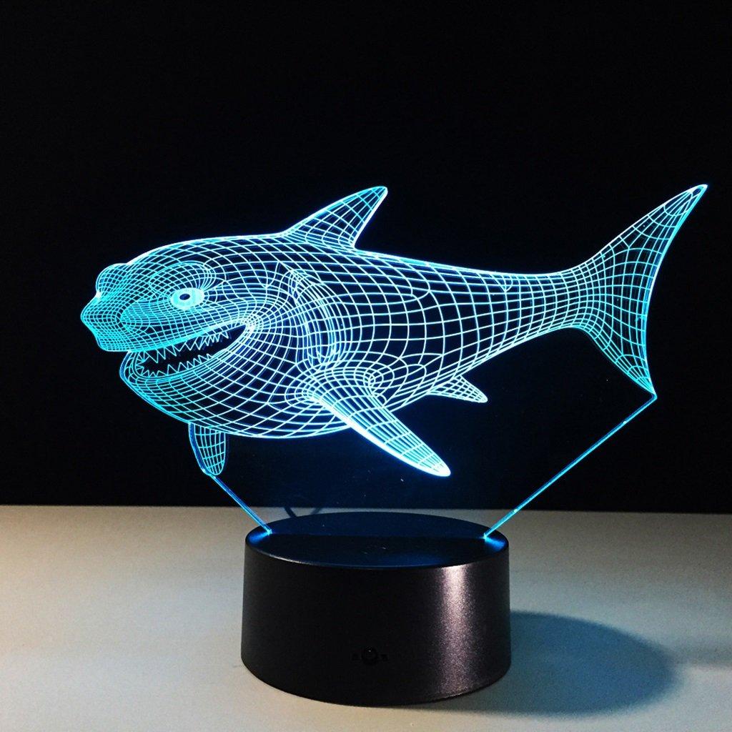 Xufei 3D Nachtlichter Sichtbeleuchtung 7 Farbwechsel USB Touch Tasten & Smart Remote Schreibtisch Lichter Schö ne Geschenke Dekoration Spielzeug (Haie) - weiches Licht