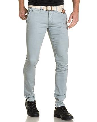 Backlight - Pantalon Chino Gris Clair avec Ceinture  Amazon.fr  Vêtements et  accessoires dabab266d98