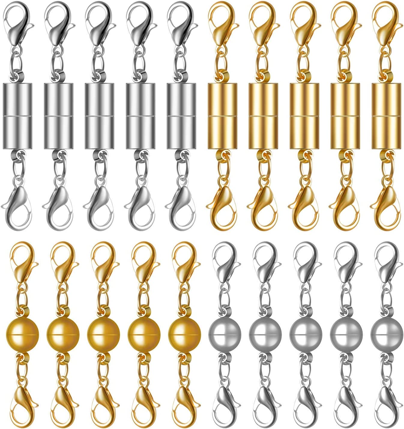 Magnetic Lobster Clasp 20pcs Gold Color and Silver Color Magnetic Converter Clasps Closures for Jewelry Necklace Bracelet
