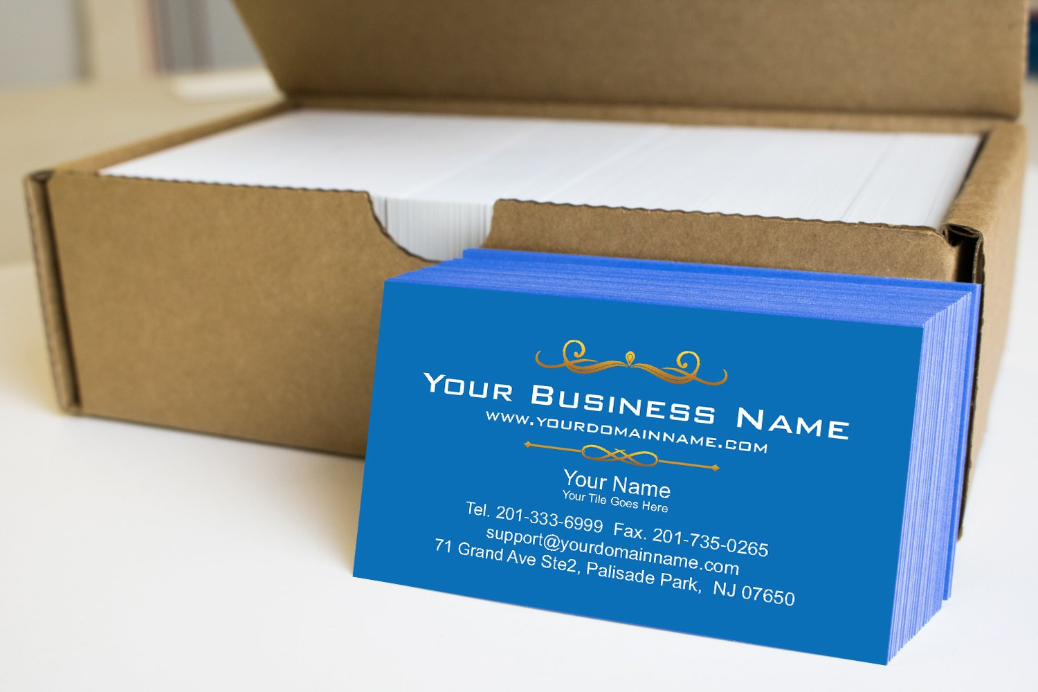 Simple Premium Business Cards 500 Full color - Blue front-White back (129 lbs. 350gsm-Thick paper)
