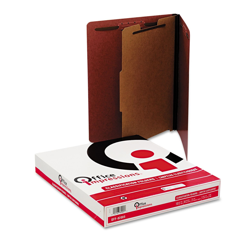 Oficina Oficina Oficina impresiones 4-Section cartón prensado clasificación carpetas, color rojo (carta, 10 ct.) 799d0d
