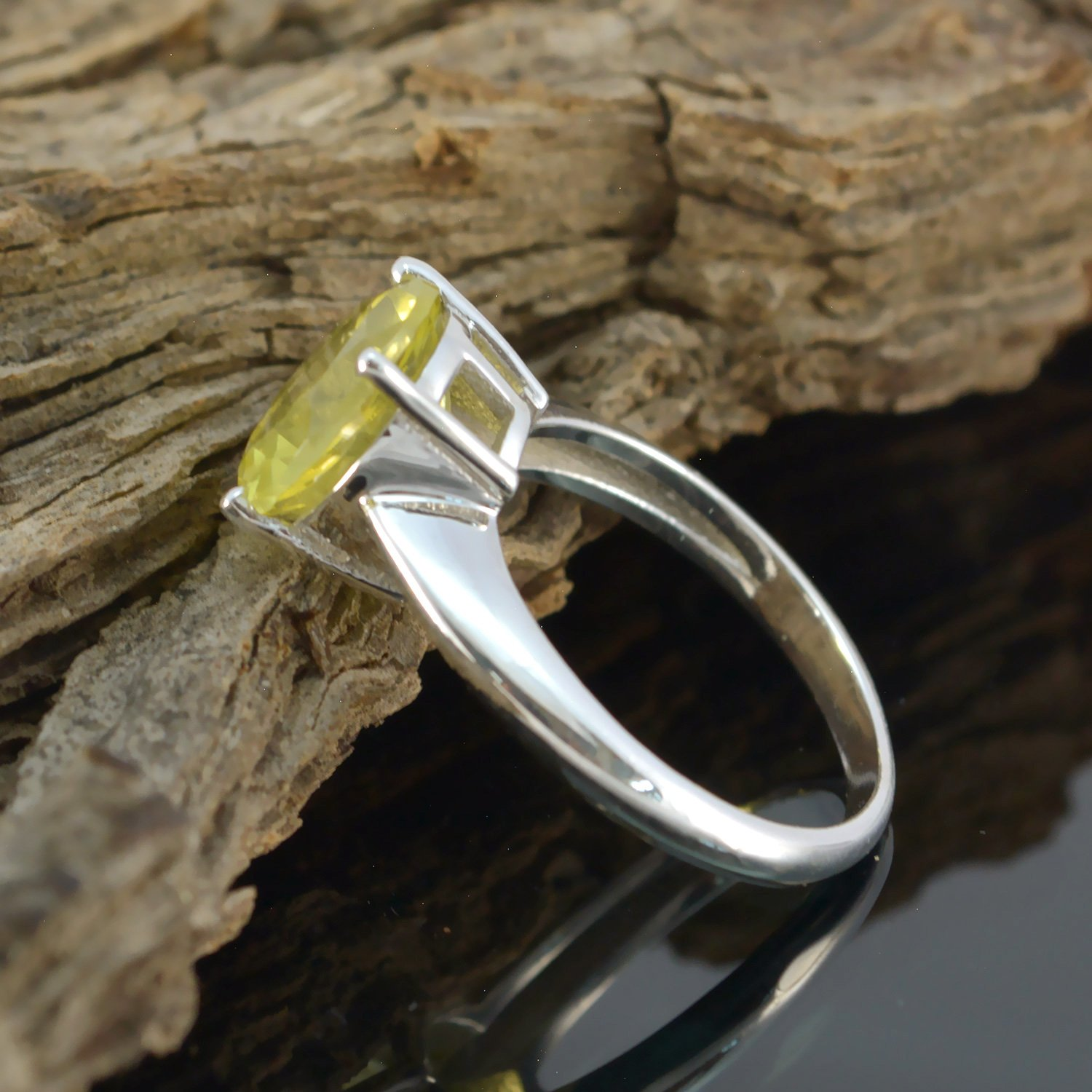 Jewelry Accessories top Item Gift for Childrens Day Monogram Stack Ring Good Gemstones Round Faceted Lemon Quartz Ring 925 Sterling Silver Yellow Lemon Quartz Good Gemstones Ring