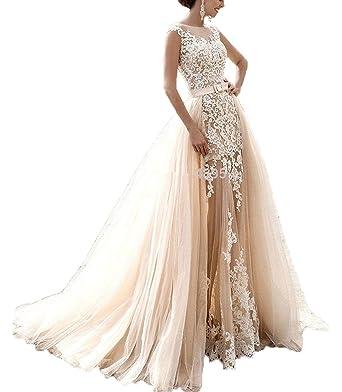 803b020aee9f4 Baoqiya Detachable Train Tulle Sleeveless Wedding Dresses Mermaid ...