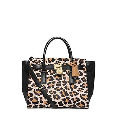 43a93f455674 Michael Kors Hamilton Traveler Leopard Calf Hair Large Satchel  Handbags   Amazon.com
