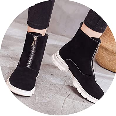 Fragrancety 2018 Luxury Snow Boots Autumn Winter Boots Women Leather Ankle Boots Ladies Platform Boots,