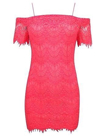 cc62dfad8d5e Topshop Coral Lace Bardot Mini Dress with Cord Straps Size 10:  Amazon.co.uk: Clothing