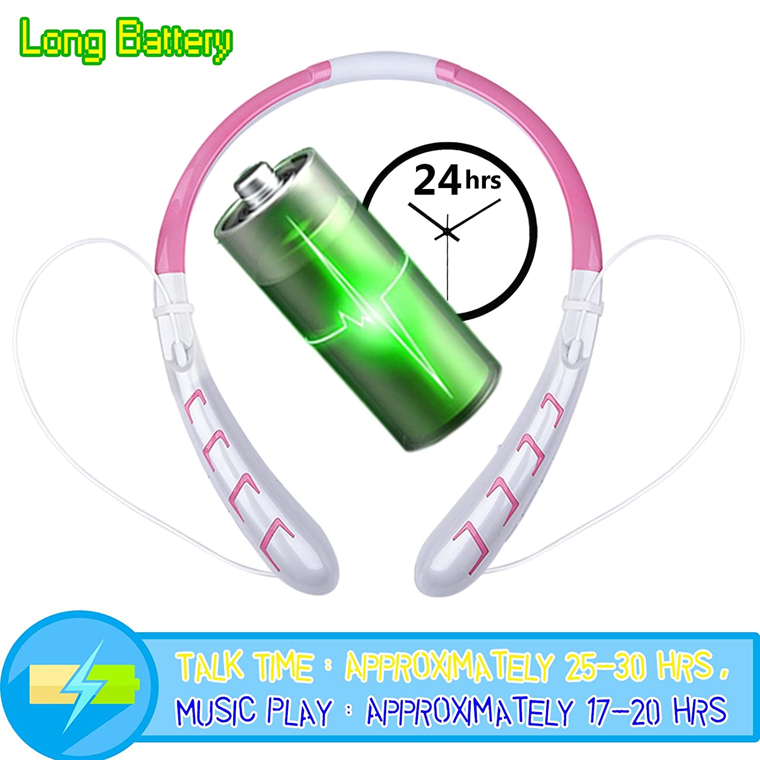 Bluetooth Headphones Continuous Earphones Pink White Image 3